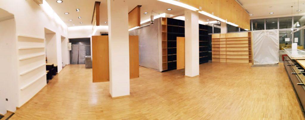 Laden 1 der art+from Ladengalerie leer geräumt und bereit für den Parkettschliff.