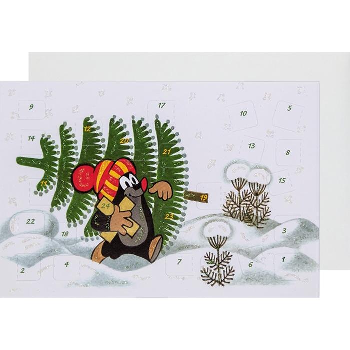adventskalenderkarte der kleine maulwurf mit tannenbaum. Black Bedroom Furniture Sets. Home Design Ideas