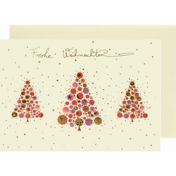 weihnachtskarte klappkarte 3 tannen frohe weihnachten. Black Bedroom Furniture Sets. Home Design Ideas