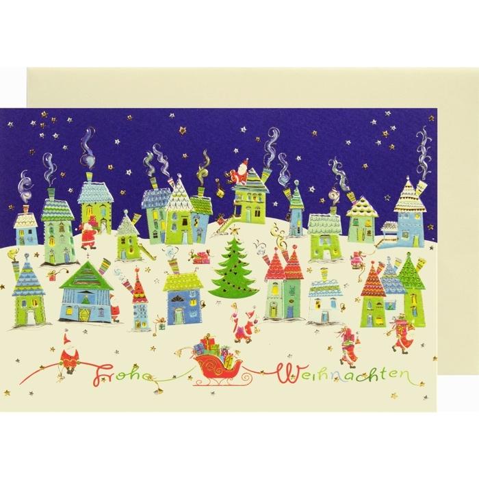 weihnachtskarte klappkarte weihnachtsstadt frohe. Black Bedroom Furniture Sets. Home Design Ideas