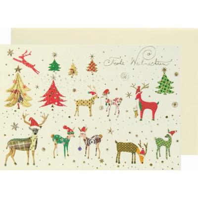 weihnachtskarte klappkarte rehe frohe weihnachten 3 50. Black Bedroom Furniture Sets. Home Design Ideas