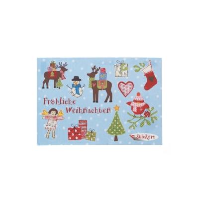 weihnachtskarte stickerkarte postkarte fr hliche weihna. Black Bedroom Furniture Sets. Home Design Ideas