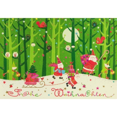 weihnachtskarte klappkarte 3 wichtel im wald frohe. Black Bedroom Furniture Sets. Home Design Ideas
