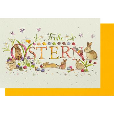Frohe Ostern Karte.Osterkarte Klappkarte Hasenbande Frohe Ostern