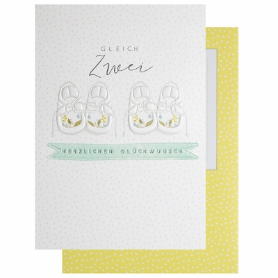 Glückwunschkarte Klappkarte Zur Geburt Von Zwillingen Gleich Zwei 2