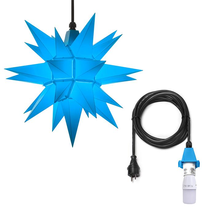original herrnhuter stern f r au en ca 40 cm blau inkl 5 m ansc 60 50. Black Bedroom Furniture Sets. Home Design Ideas
