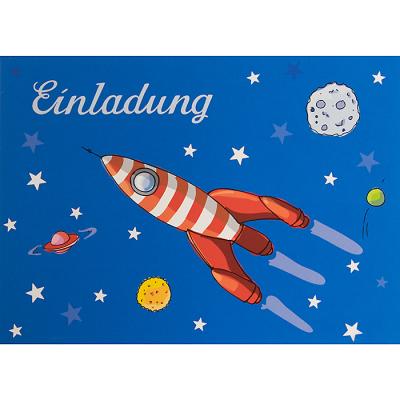 Einladungskarten Zum Kindergeburtstag   Rakete   6er Set